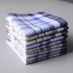 2Pcs/Set Men's Fashion Accessories 100% Cotton Plaid Men's Handkerchief For Men Gift Random Color Random one size