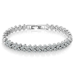 Exquisite Luxury Fashion Cubic Zirconia Roman Sliver Tennis Heart Crystal Bracel Silver one  size