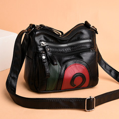 New Style Soft Leather Square Sling Bag WOMEN'S Cross-body Bag Middle-aged Shoulder Bag Mommy Bag Color matching one size