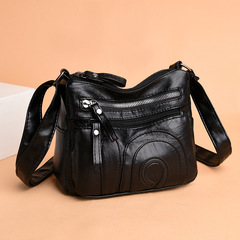 New Style Soft Leather Square Sling Bag WOMEN'S Cross-body Bag Middle-aged Shoulder Bag Mommy Bag black one size