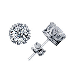 Korean-style Earrings Simple Elegant Korean Style Crown Zircon Shiny Versatile Ear Stud silver one  size