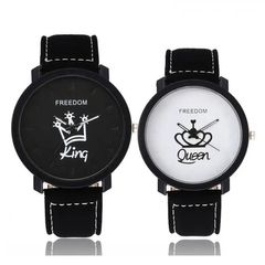 Couple Watches King and Queen Crown Couples Watch Wrist watch with PU Faux Leather Band for Lovers As picture one  size