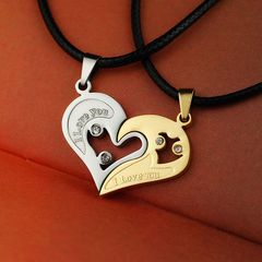 2Pcs/Set Couple Necklace Heart-shaped Zircon Inlaid Love Pendant Jewelry Gold+Silver one  size