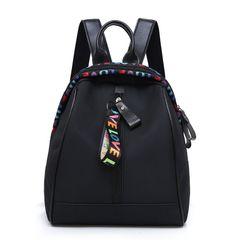 New oxford cloth backpack women fashion all-match school bag female travel bag female bag Black one size