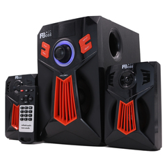 FBOSS 2.1CH BT Multimedia Blutooth Speaker System FM SD AUX Subwoofer 8000 PMPO black & red 20w FB-108BT