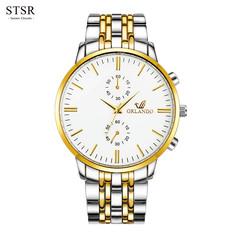 STSR Men's Stainless Steel Watch Men's Quartz Clock Men's Sports Watch Fashion Watch white gold one size