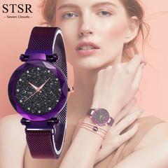 New Luxury Ladies Watch Diamond Elegant Purple Ladies Starry Watch Female Gift Clock purple one size