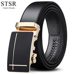 Brand leather men's belt automatic gold buckle fashion men's belt men's wide belt As shown one size