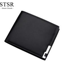 Men's Wallet Fashion Business Style PU Leather Short Wallet Card Holder Gift Men's Bag black one size