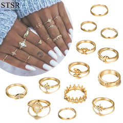 13PCS / Set Ring Jewelry Ladies Rings Set Wedding Jewelry Women's Fashion Accessories gold one size