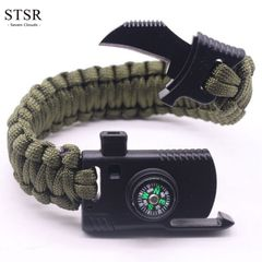 STSR Woven Bracelet Men's Multifunctional Bracelet Outdoor Camping Rescue Emergency Rope ArmyGreen one size
