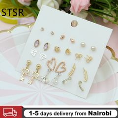 12 Pairs Set Earrings Small and Cute Korean Style Small Fresh Earrings Student Girls Ear Jewelry gold One size
