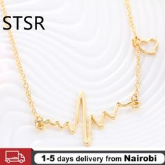 Heart Wave Necklaces & Pendants Career Women High Polished Pendant Heartbeat Necklace Jewelry gold One size