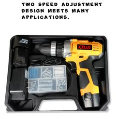 1300rpm,28N/M xplus brand JAPAN TECHNOLOGY LITHIUM CORDLESS ELECTRIC DRILL with full set of tools yellow normal