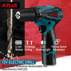 1300rpm,28N/M XPLUSBRANDJAPAN TECHNOLOGY LITHIUM CORDLESS ELECTRIC DRILL with full set of tools yellow normal