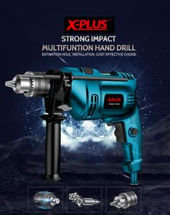 X-PLUS 220V Corded impact Drill Kit Electric Metal Chuck  Mini Drill Grinding Wheel Hand Tools BLUE normal