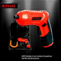 Foldable  Cordless drill and Screwdriver Tool Kit and Accessories RED normal