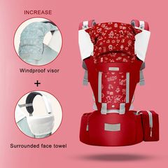 Baby Carriers Soft Comfortable Baby Carrier  Cotton Breathable Wrap Kangaroo Bag Odorless Infant RED L