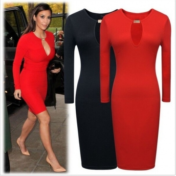 ON SALE........Hot Women Fashion Casual Sexy Dress Long Sleeve Stretch Bodycon Party Dress Springy Black AsiaL=US S