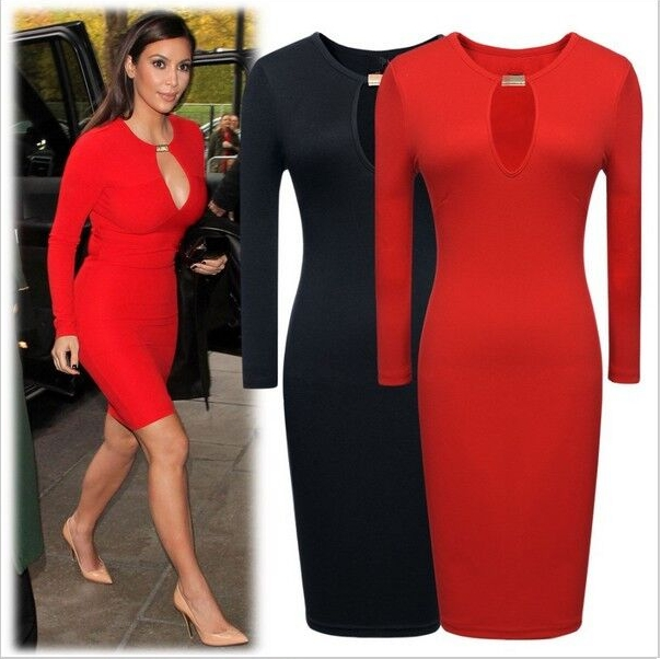 ON SALE........Hot Women Fashion Casual Sexy Dress Long Sleeve Stretch Bodycon Party Dress Springy Red AsiaL=US S