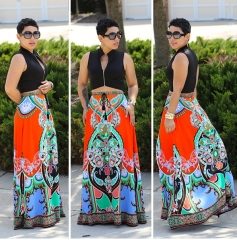 ON SALE...New Look Women Floral Casual Maxi Beach Skirt Floor Length Big Lap Dress One Color One Size