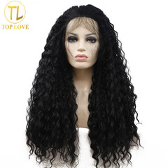 Synthetic New Fashion Lace Wigs Hair Lace Wigs Women Lace Wigs Hair Long Wave Wigs black 24inck