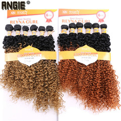 Synthetic Kinky Curly Hair Bundles Two Tone Ombre Color Hair Weave 16 18 20 Inches Mixed 1 Pack 6 16-18-20