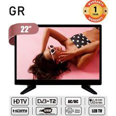 (Big Sale) GR High Quality 22 Inch HD LED Digital TV AC / DC Input Televisions black 22''
