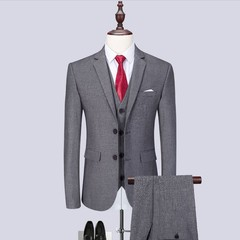 Suit Men Three Pieces(Blazer Trouser Waistcoat)3 PCS Men's Suits Slim Formal Weddings Offices Party Grey XS(EUR)