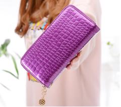 Qiaishi Wallet New Korean double zipper women's large capacity long wallet change mobile hand bag Violet