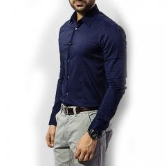 2016 Spring Winter Men's  Style Shirts Male Slim Business Suits Shirt Youth Boys Dress Shirts M-XXL NAVY BLUE MEDIUM