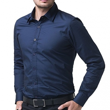 2016  Style Shirts Male Slim Casual Business Suits Shirts NAVY BLUE LARGE