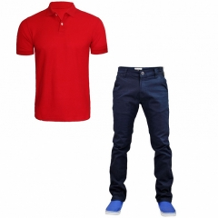 Navy Blue Khaki Trouser + red polo tshirt NAVY BLUE 40