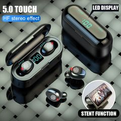 Wireless Earphone Bluetooth V5.1 F9 TWS Wlreless Bluetooth Headphone Led Dispiay black