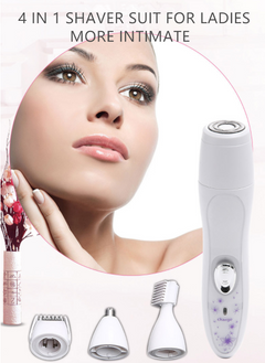 Charge Women`s Facial Electric Shaver Hair Remover Trimmer Body 4 in 1 White 15cm*2.5cm