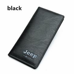 Men's long Leather wallet classic business cedit Card Gift black 10*19cm
