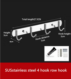 hook bathroom and kitchen room  stainless steel without wall hole with 4 hooks SUS  4rows of hooks 27.5*5*4cm