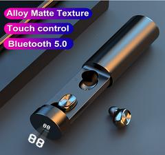 B9 TWS Bluetooth Earphone 5.0 Wireless 8D HIFI Sport Earphone MIC Earbuds with Charging Case black One size