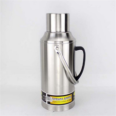 Stainless steel warm water bottle flat cover household portable insulation pot(Steel 3.2L) silver 3.2L