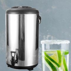 Jamespot Stainless Steel Milk/Tea Barrel Double-layer Coffee Bean Barrel Breakfast Barrel(10L) Silver