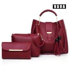 Women's handbags luxury 3 piece handbag + shoulder bag + wallet exquisite fashion dark red 33X13X31cm