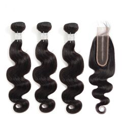 Best Hair Bundles With Closure Brazilian Hair Body Wave Human Hair Natural Color Middle Part Styles natural black 16 16 16 & closure 14