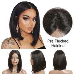 Best Hair Straight Bob Wig Lace Wig 180% Density Middle Part Blunt Cut Human Hair Wigs Natural Black natural black 12 inch