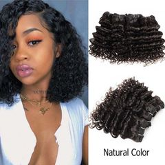Curly Hair Extensions Bundles Brazilian Human Hair Weave Bundles  Double Drawn Weft natural Color natural black 8inch