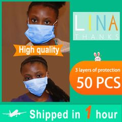 fbk [CE certificate] Disposable mask 50 pieces of 3-layer dust-proof protective mask blue adult