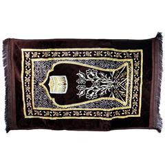 1PCS Muslim special prayer carpet flannel prayer blanket Muslim worship mat with spike thickening Brown1
