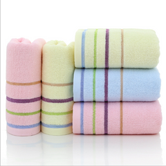 3PCS Cotton Face towel Washcloth absorbent towel bathroom towel 4 line kitchen towel Pink+Blue+Yellow 35cm*75cm