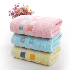 3PCS Cotton towel absorbent towel bathroom wash towel box Face towel Pink+Blue+Yellow 35cm*75cm
