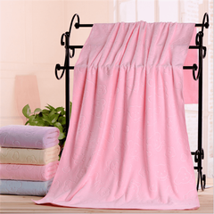 1PCS Microfiber embossed children's bath towel tube top swimming quick-drying absorbent towel pink 80*160cm
