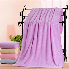 1PCS Microfiber embossed children's bath towel tube top swimming quick-drying absorbent towel purple 80*160cm